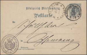 Dienstpostkarte P 2 Ziffer 2 Pf. DV 12 3 00, KIRCHHEIM unter TECK 17.7.1900