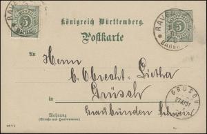 Postkarte P 37 Ziffer 5 Pf DV 27 7 1, RAVENSBURG BAHNHOF 26.11.1901 nach GRÜSCH