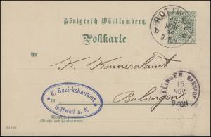Dienstpostkarte P 29 AMTLICHER VERKEHR DV 30 3 98, ROTTWEIL 15.11.98 n. BALINGEN