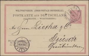 Postkarte P 25F Ziffer 10 Pf. Frageteil, ULM STADTPOSTBUREAU 26.9.1884 n. Grüsch