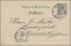 Postkarte P 37 Ziffer 5 Pf DV 26 4 97, ULM BAHNHOF 28.7.1897 nach MUNDERKINGEN
