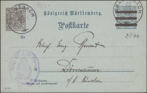 Dienstpostkarte DP 40/10 AMTLICHER VERKEHR mit DV 10 2 6, BRAUNSBACH 22.7.1909