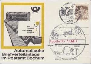 Karte Automatische Briefverteilanlage Postamt BOCHUM SSt Apollo 13 - 11.4.1970