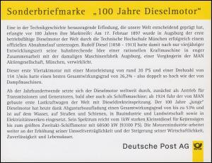 Klappkarte Historische Fahrzeuge und 100 Jahre Dieselmotor ESSt Bonn 28.8.1997
