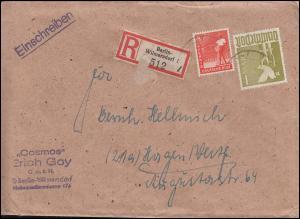 945+959 Kontrollrat II 8 Pf + 1 M portogerechter R-Brief von Berlin nach Hagen
