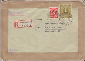 917+937 Ziffern 8 Pf + 1 Mark portogerechter R-Brief BERLIN-NEUKÖLLN 19.12.1947