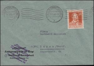 963 Heinrich von Stephan 24 Pf. EF Bf. BERLIN-CHARLOTTENBURG 4.3.1948 nach Hagen