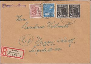 Kontrollrat II - Mischfrankatur auf R-Brief BERLIN-ZEHLENDORF 26.5.48 nach Hagen
