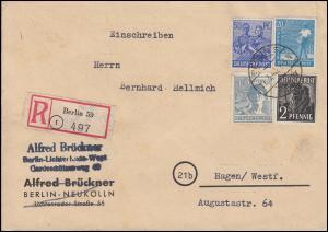 Kontrollrat II - Mischfrankatur auf R-Brief BERLIN 17.3.1948 nach HAGEN 19.3.48