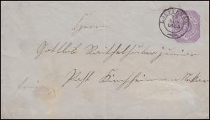 Württemberg Umschlag U 29X von LAUFEN / NECKAR 23.8.1883 n. KIRCHHEIM 23.8.83