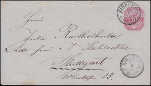 Württemberg Umschlag U 30X von KIRCHHEIM / NECKAR 21.6.1878 n. Stuttgart Ds 21/6