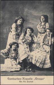 Oberschlesien MYSLOWICE 28.8.1920 auf AK Tamburitza-Kapelle DRAGA nach Berlin