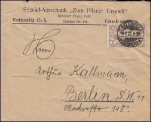 27 Hüttenwerke und Friedenstaube 2 Mark EF Brief KATTOWITZ 19.2.1922 nach Berlin