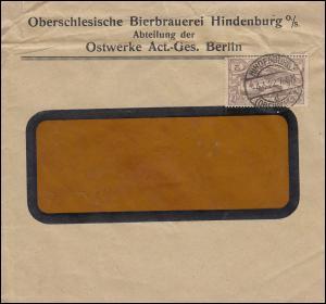 27 Hüttenwerke und Friedenstaube 2 Mark EF Brief Bierbrauerei HINDENBURG 4.4.22