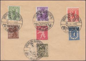 Postkarte P 4 rs. Frankatur 1-7 SSt BERLIN-KÖPENICK WAREN-MUSTERMESSE 6.12.45