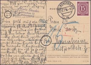 921 Ziffer 15 Pf auf Postkarte - mit Nachporto erhoben - MÜNCHEN 12.7.1960