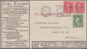 USA-Brief Carl Fischer Musik Publisher / Musical Agent MiF NEW YORK 6.6.1921