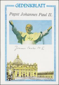Gedenkblatt Papst-Besuch mit Vignettenblock und Berlin 624, SSt Mainz 16.11.1980