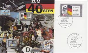 Schallplatten-Karte Nationalhymne - 40 Jahre Bundesrepublik mit ESSt Bonn 1989