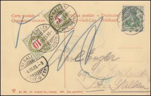 Schweiz Portomarken P 17 und P 18 Ansichtskarte aus Deutschland KONSTANZ 4.8.05