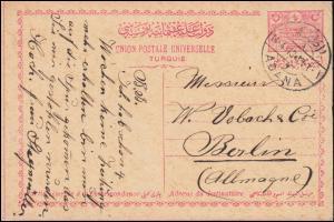Türkei Postkarte P 39 Hauptpostamt Konstantinopel aus ADANA 14.4.13 nach Berlin