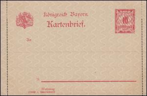 Kartenbrief K 1 Ziffer 10 Pfennig - ohne rückseitige Bemerkung, ungebraucht