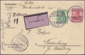 70+71 Germania MiF Nachnahme-Postkarte HARBURG 2.11.1904 nach NEUENBURG 3.11.04