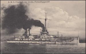 DEUTSCHE MARINE-SCHIFFSPOST No 49 - 6.4.1917 SMS Friedrich der Große auf AK