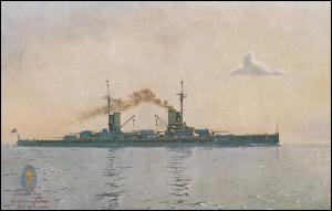 DEUTSCHE MARINE-SCHIFFSPOST No 49 - 22.3.1917 SMS Friedrich der Große auf AK