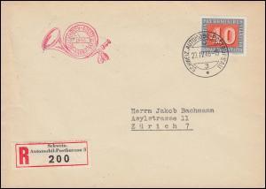 451 Waffenstillstand 40 EF R-Brief SCHWEIZ. AUTOMOMIL-POSTBUREAU 3 - 27.4.1946
