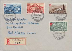 460-463 Pro Patria Berufe und Landhäuser - Satz auf R-Brief ST. GALLEN 25.6.1945
