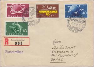 522-524 UPU mit 521 auf R-Brief SSt LENZERHEIDE/LAI 7.6.49 nach EGGERSDORF 10.6.