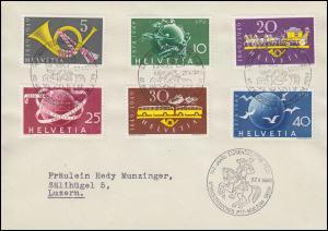 Schweiz 519-521 Eidgenössische Post und 522-524 UPU auf-Brief SSt BERN 27.5.49