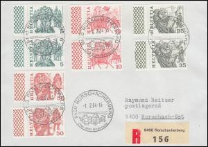 Schweiz 1110+1101+1103+1105 je als Do und Du getrennt mit Rand auf R-FDC 1.2.84
