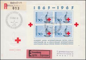 Schweiz Block 19 Internationales Rotes Kreuz auf Eil-R-Brief SSt GENF 28.8.1963