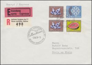 Schweiz 682 PTT-Konferenz mit Zufr. S-R-Zettel Eil-R-Brief SSt MONTREUX 2.7.1959