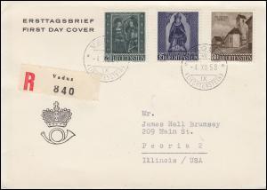 Liechtenstein 374-376 Weihnachten 1958 auf Schmuck-R-Auslands-FDC VADUZ 4.12.58