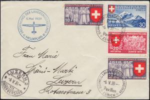 Meldeflug Eröffnung Landesausstellung 6.5.1939 Schweiz-Brief SSt ZÜRICH