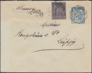 Frankreich Umschlag U 2 B II mit Zusatzfrankatur 13.11.1891 nach LEIPZIG 14.11.