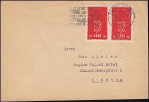 318 Rotes Kreuz als Paar Brief Werbe-O Post und Eisenbahn SAARBRÜCKEN 27.8.1952