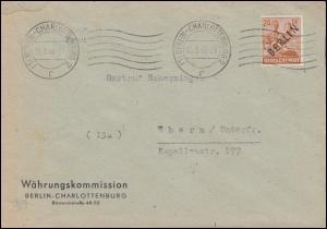 9 Schwarzaufdruck EF Brief der Währungskommission BERLIN-CHARLOTTENBURG 15.9.48