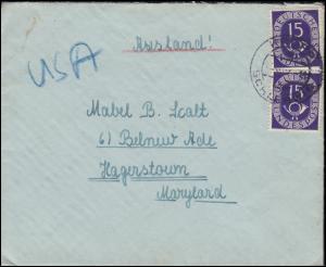 129 Posthorn 15 Pf. als MeF auf Auslandsbrief KROPP / HOLSTEIN 1952 in die USA