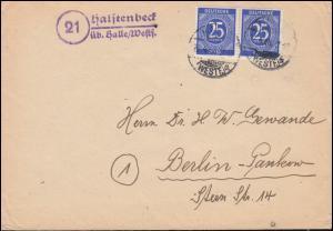 Landpost-Stempel Halstenbeck über Halle/Westf.) 22.4.48 Brief nach Berlin-Pankow