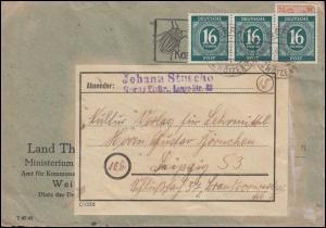 923 Ziffer 16 Pf als MeF auf Brief GERA-ZWÖTZEN September 1947, gepr. Zierer BPP