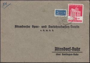 102 Berlin-Hilfe 20 mit Notopfer EF Brief HATTINGEN Januar 1949 nach Altendorf