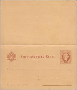 Österreich Postkarte U 34 Doppelkarte 2/2 Kr. rotbraun (deutsch), ungebraucht
