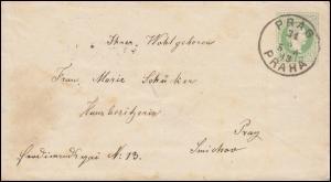 Österreich Umschlag U 59I aus PRAG 31.8.1883 nach SMICHOV 31.8.83