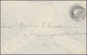 Großbritannien Privatumschlag Königin Viktoria 2 Penny grau LIVERPOOL 26.7.1902