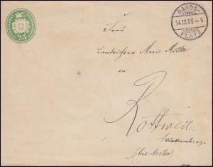 Schweiz Umschlag U 19 X1 Wappen 25 C. DAVOS-PLATZ 14.3.1889 nach ROTTWEIL 16.3.