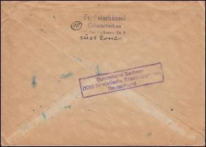 929 Ziffer 40 Pfennig zweimal auf Brief CRIMMITSCHAU 19.5.47 in die USA